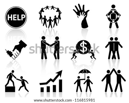 business help icons - stock vector