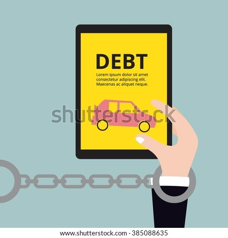 Business holding car, Debt concept vector