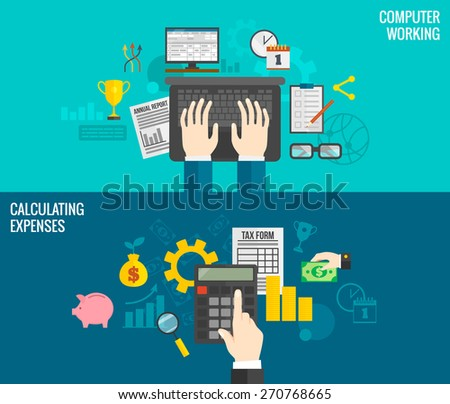 Business horizontal banners set with hands working on computer and calculating expenses isolated vector illustration - stock vector