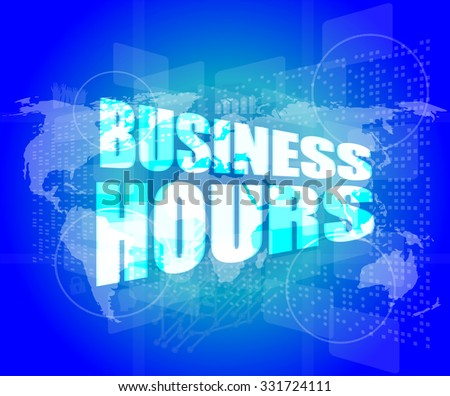 business hours on digital touch screen vector illustration - stock vector