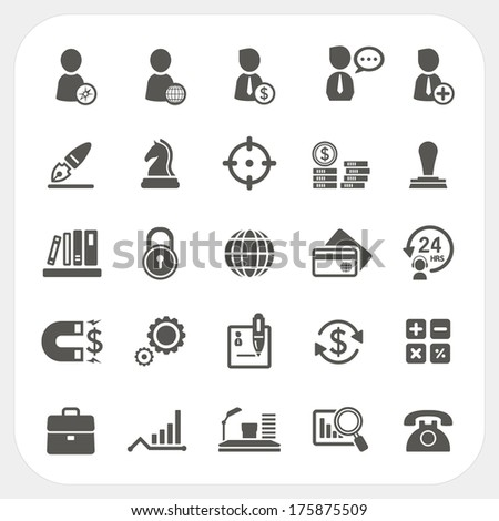 Business, Human resource and Finance icons set - stock vector