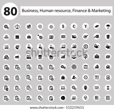 Business, Human resource,Finance icon set,White version,vector