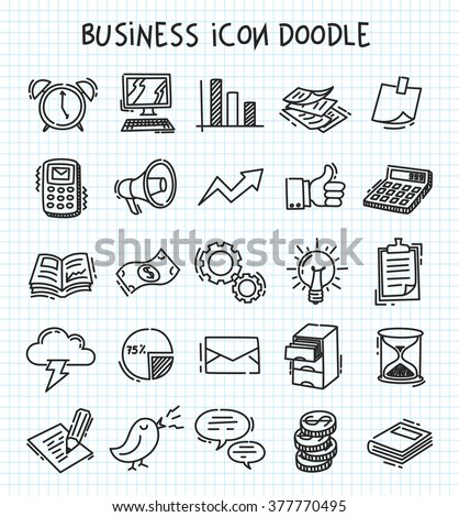 business icon in doodle style - stock vector
