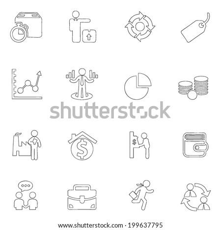 Business icon line drawing  by hand Set 2 - stock vector