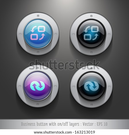 Business icon on glossy button with on/off layers, Vector user interface collection.