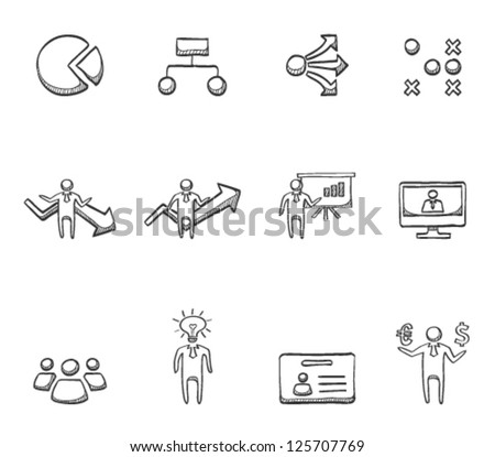 Business icon series in sketch - stock vector