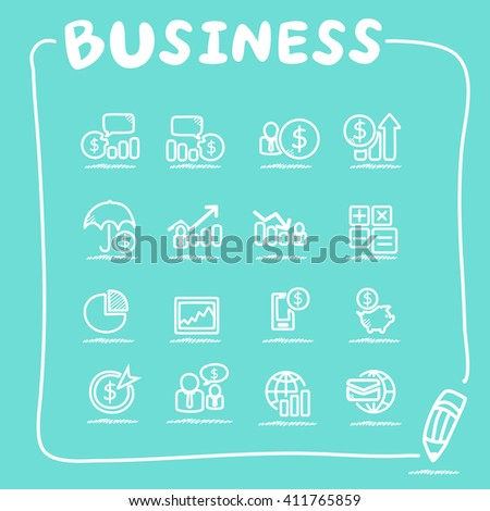 business icon set - doodle Series - stock vector