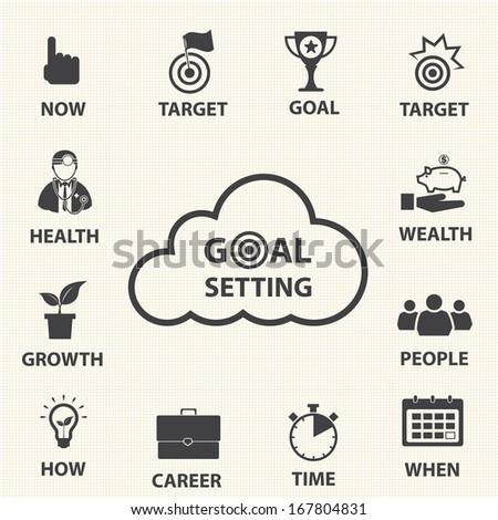 Business icon set, Smart goal setting - stock vector