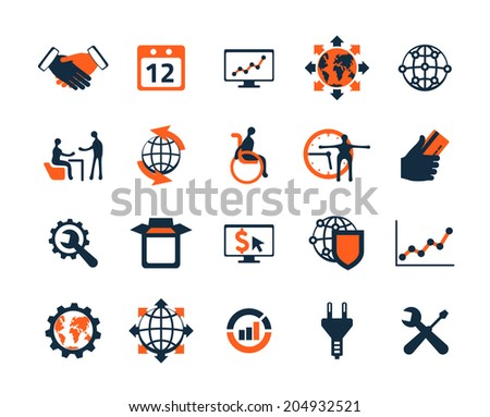Business icon set. Software and web development, marketing, global communications.  The map image is derived from the materials of the University of Texas Libraries, The University of Texas at Austin. - stock vector
