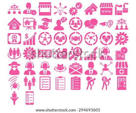 Business Icon Set. These flat icons use pink color. Vector images are isolated on a white background.