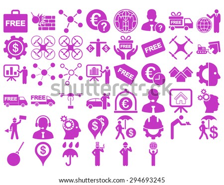 Business Icon Set. These flat icons use violet color. Vector images are isolated on a white background.