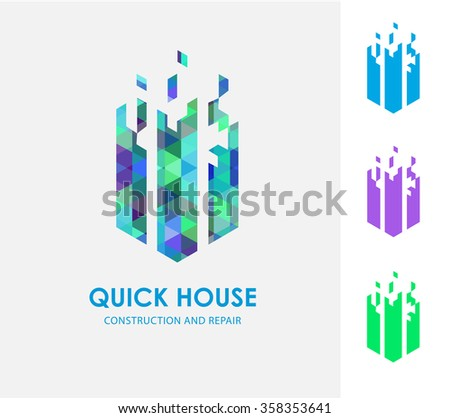 Business Icon - Vector logo design template. Abstract emblem for fast building construction, engineering  - stock vector