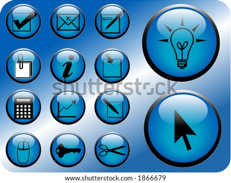 Business icon vectors in blue. - stock vector