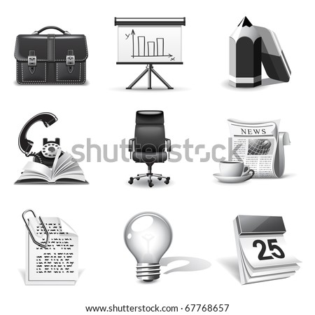 Business icons | B&W series - stock vector