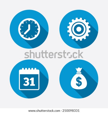 Business icons. Calendar and mechanical clock signs. Dollar money bag and gear symbols. Circle concept web buttons. Vector - stock vector