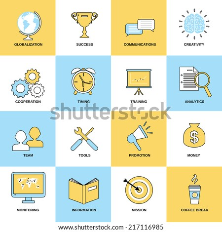 Business icons flat line set of globalization success communications isolated vector illustration - stock vector