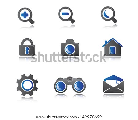 Business icons for use in presentations - stock vector