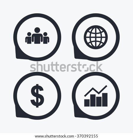 Business icons. Graph chart and globe signs. Dollar currency and group of people symbols. Flat icon pointers. - stock vector