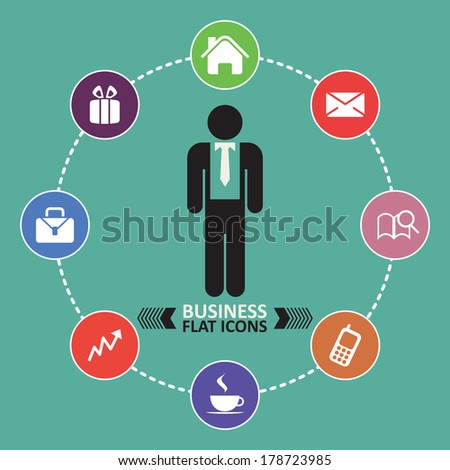 business icons, human resource, finance, icon set - stock vector