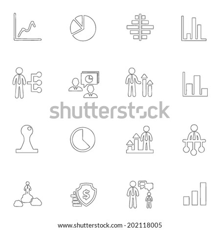 Business icons line drawing by hand Set 17 - stock vector