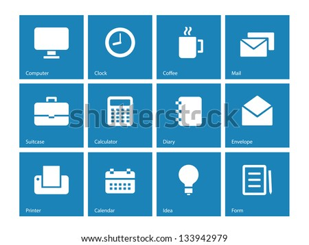 Business icons on blue background. Vector illustration. - stock vector
