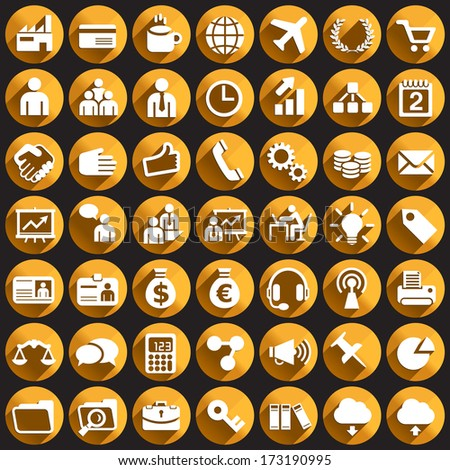 Business Icons on Circular Buttons. - stock vector