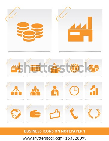Business Icons on Notepaper 1. - stock vector
