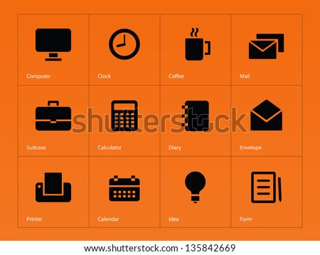 Business Icons on orange background. Vector illustration. - stock vector