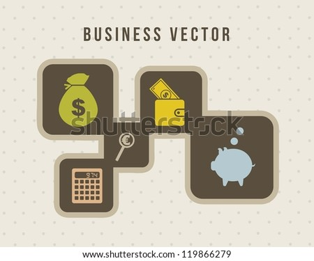 business icons over vintage background. vector illustration - stock vector