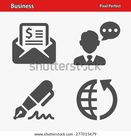 Business Icons. Professional, pixel perfect icons optimized for both large and small resolutions. EPS 8 format. Designed at 32 x 32 pixels. - stock vector