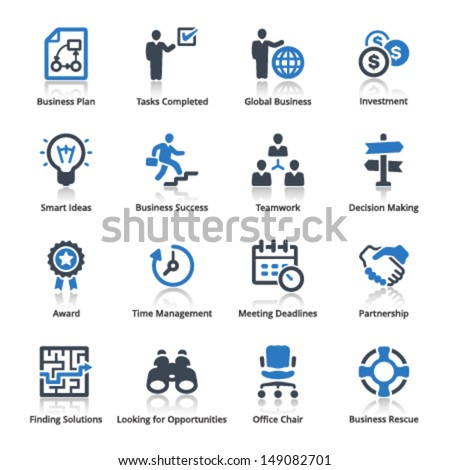 Business Icons Set 3 - Blue Series  - stock vector