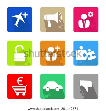 Business icons set color, with shadow and pixel - stock vector