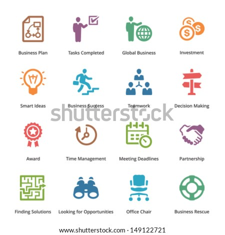 Business Icons Set 3 - Colored Series  - stock vector
