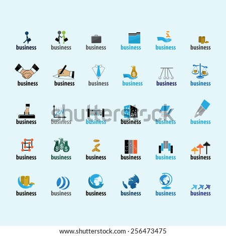 Business Icons Set - Isolated On Blue Background - Vector Illustration, Graphic Design, Editable For Your Design - stock vector