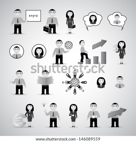 Business Icons Set - Isolated On Gray Background - Vector Illustration, Graphic Design Editable For Your Design. Logo Symbols - stock vector
