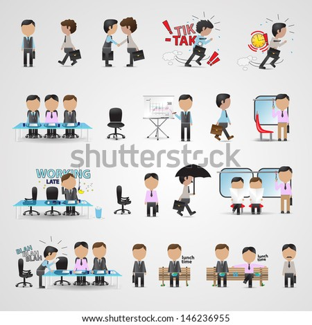 Business Icons Set - Isolated On Gray Background - Vector Illustration, Graphic Design Editable For Your Design - stock vector