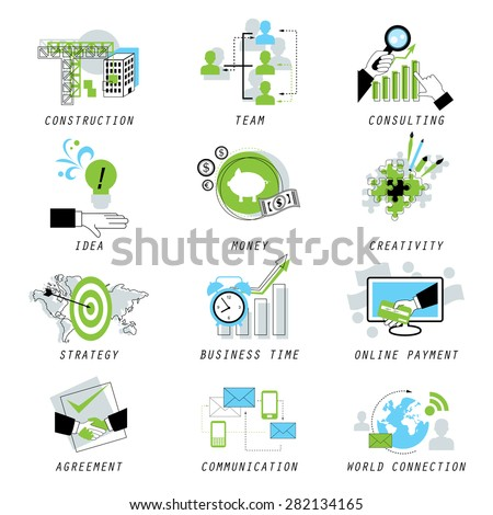 Business Icons Set - Isolated On White Background - Vector Illustration, Graphic Design, Editable For Your Design  - stock vector