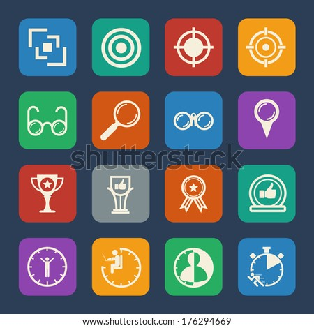 Business icons set Leadership concept. Flat design for Website and Mobile applications. Vector - stock vector