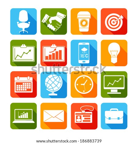 Business icons set of laptop envelope pass briefcase monitor isolated vector illustration - stock vector