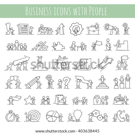 Business icons set of sketch working little people with money, teamwork. Doodle cute miniature scenes of workers. Hand drawn cartoon vector illustration for business design and infographic. - stock vector