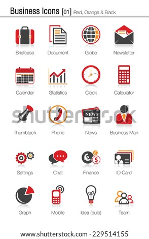 Business icons set 01 (red, orange and black) - stock vector