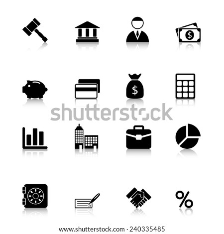 Business Icons Set with reflection - stock vector
