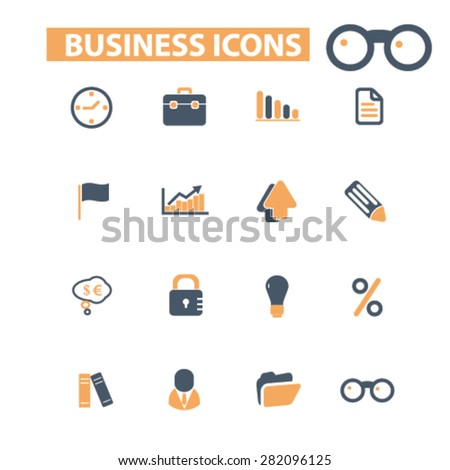 business icons, signs, illustrations set, vector - stock vector