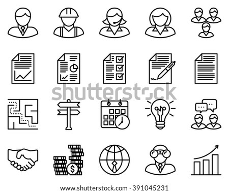 Business icons, vector illustration, outline stroke icons.