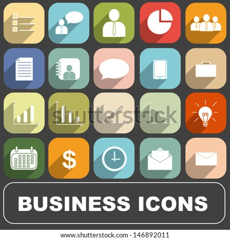 Business Icons vector set  in Long Shadow Style - stock vector