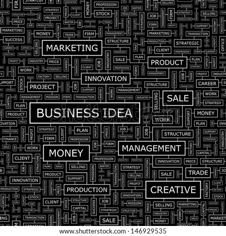 BUSINESS IDEA. Background concept wordcloud illustration. Print concept word cloud. Graphic collage with related tags and terms. Vector illustration.  - stock vector