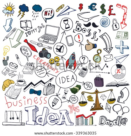Business Idea Colored Doodle Set. Freehand vector drawings. Isolated white background