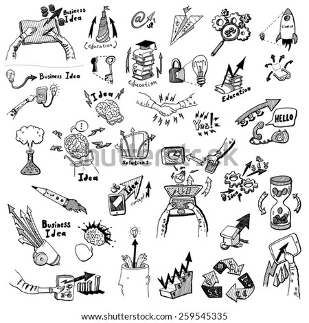 Business Idea (concept) high detailed doodles icons set, sketch. Vector illustration, hand drawn background
