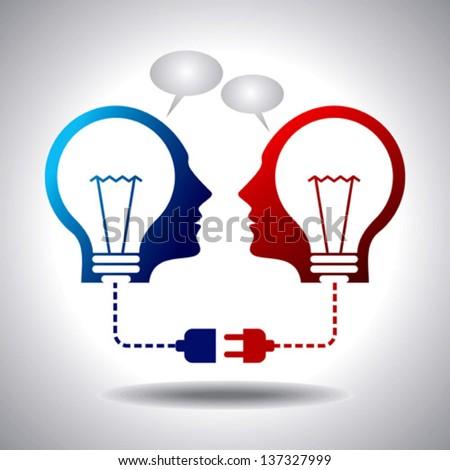 business idea connection - stock vector
