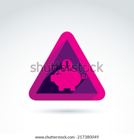 Business idea discussion concept, economics and investment theme. Vector pink piggybank sign, personal savings icon. - stock vector